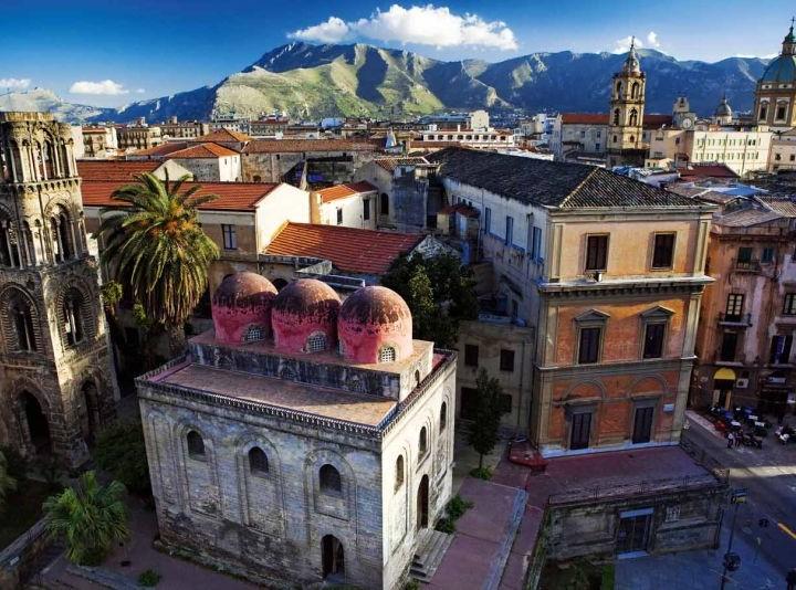 Italy, Sicily, Palermo district, Palermo, Mediterranean area, San Cataldo church and La Martorana