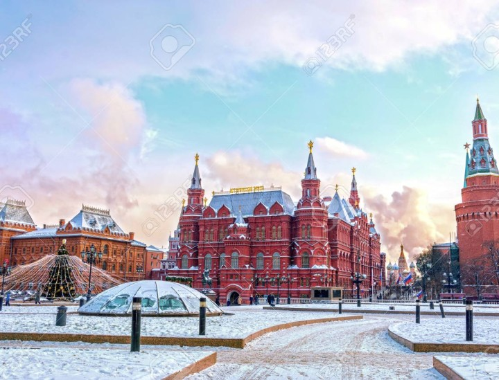 State Historical Museum on Red Square in winter. Moscow, Russia
